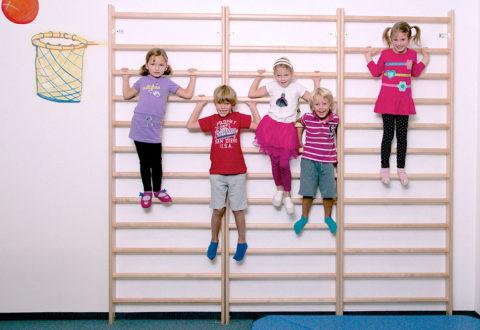 Žebřiny dětem posílí svaly a dodají jistotu. Foto: www.monkeysgym.cz